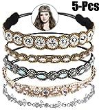 Bandas para la Cabeza Elásticas, Zoylink 5 Piezas aro Diadema Cristal Diamante de Imitación Bandas para el Pelo Accesorios para el Cabello de la Boda para Mujer