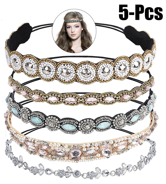 Zoylink 5PCS Rhinestone Beaded Headband Crystal Elastic Headband Wedding Hair Band