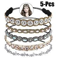Bandeaux élastiques, Zoylink 5PCS Hoop Bandeau Cristal Strass Cheveux Bandes De Cheveux De Mariage Accessoires pour Femmes
