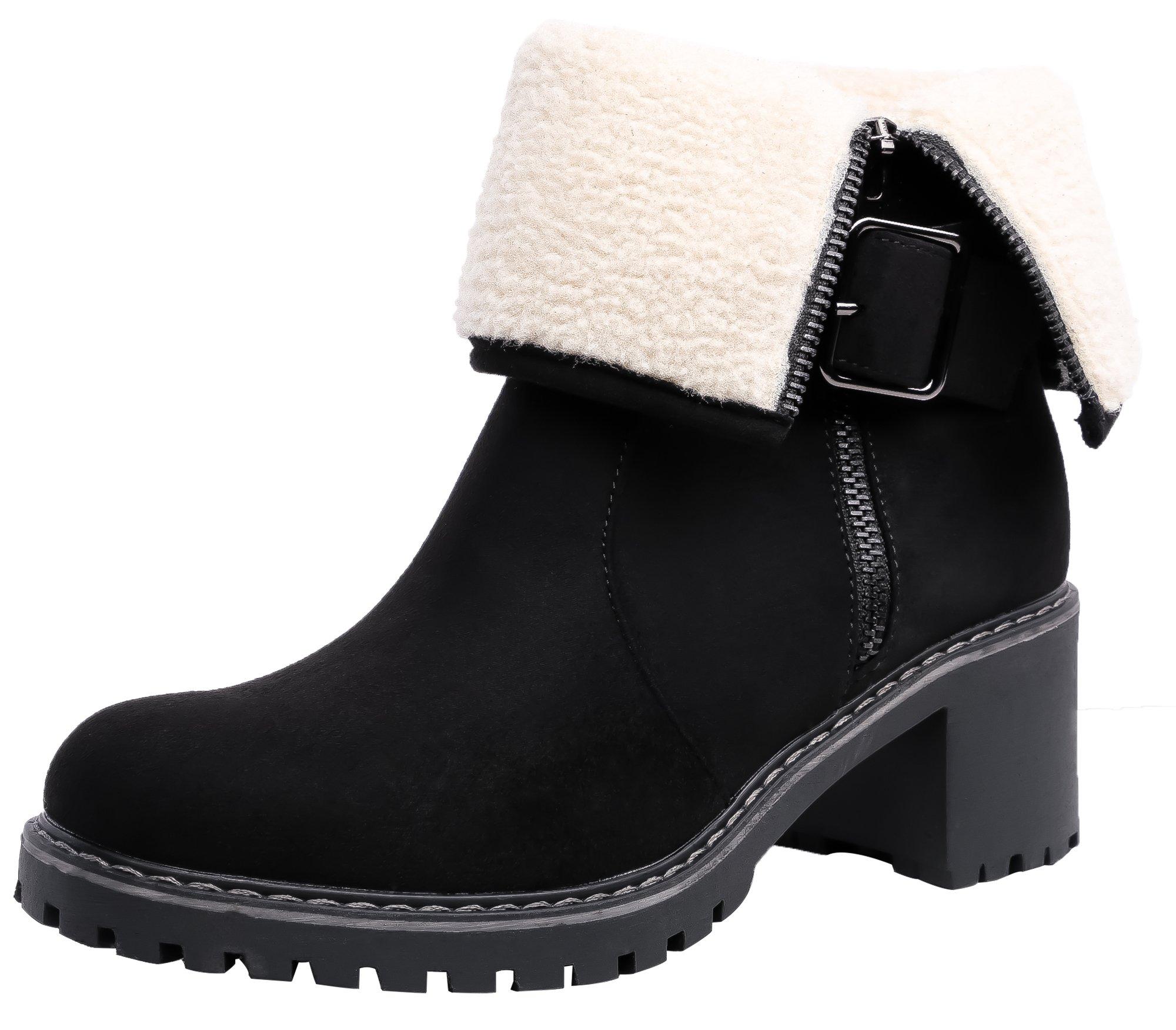 SHENBO Women's Winter Boots Fold Faux Shearling Trim Ankle Bootie(8,Black)