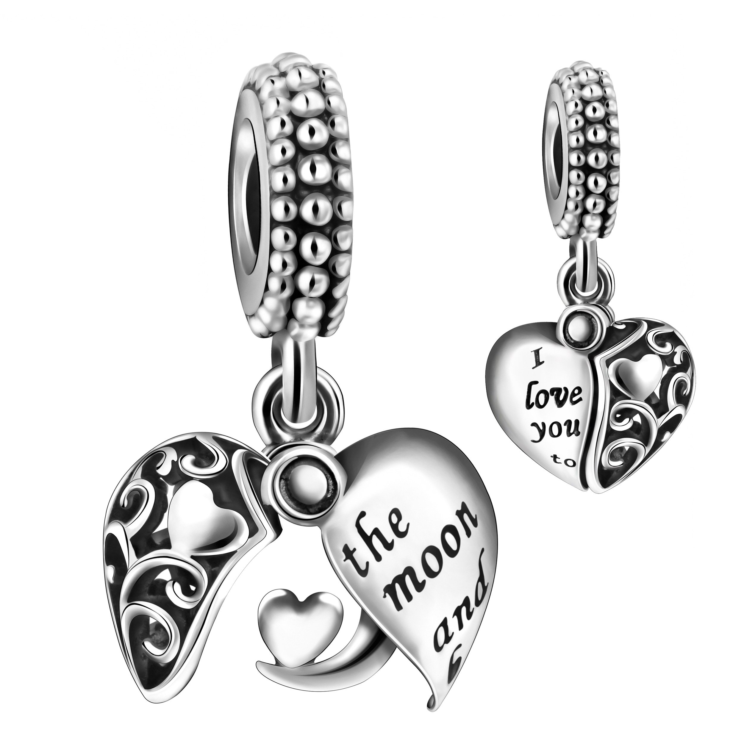 ANGEMIEL 925 Sterling Silver I Love You to The Moon & Back Heart Dangle Openwork Charms Bead for European Snake Chain Bracelets by ANGEMIEL