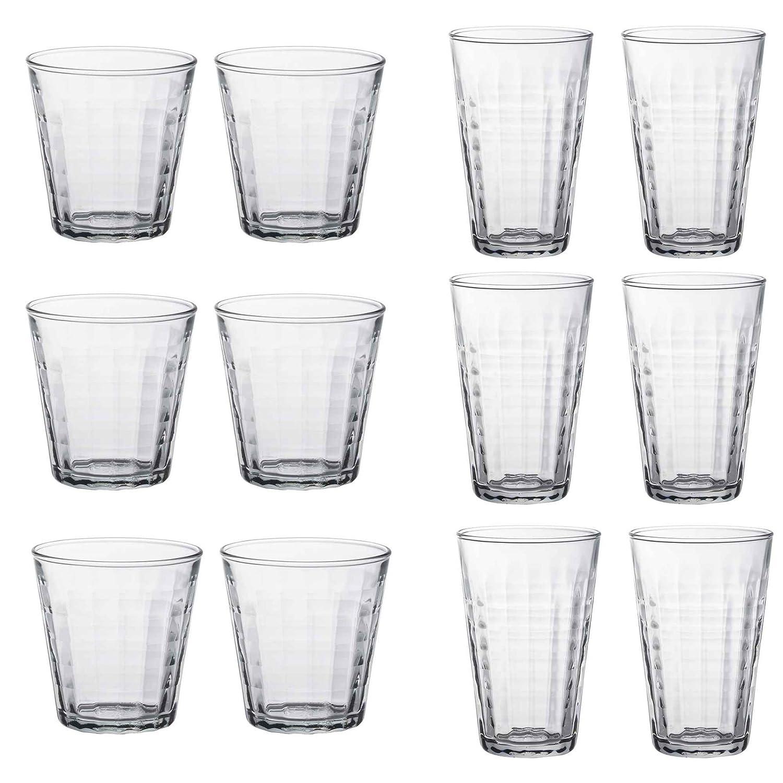 Duralex Prisme Water/Juice Tumblers (220ml) & Hiballs (330ml) - Set of 12 (6 of each)