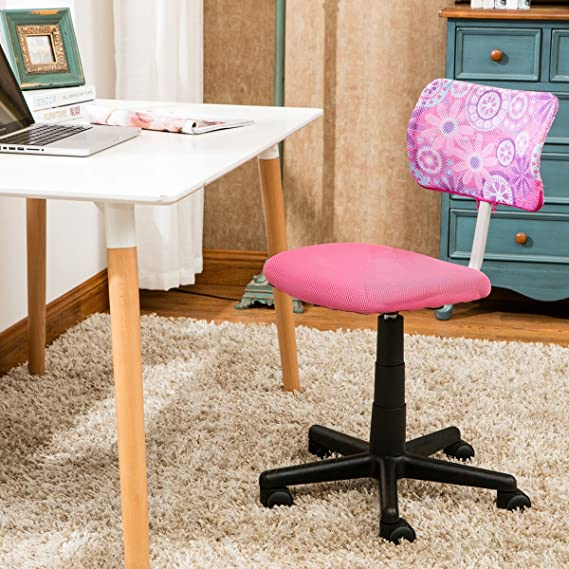 Amazon.com: ANJI Swivel Mesh Back Kids Desk Chair with Adjustable Seat Office Task Chair Pink: Kitchen & Dining