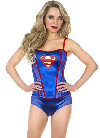 4eefbd6e4 Amazon.com  Undergirl womens Superman Printed Corset And Panty Set Small   Clothing