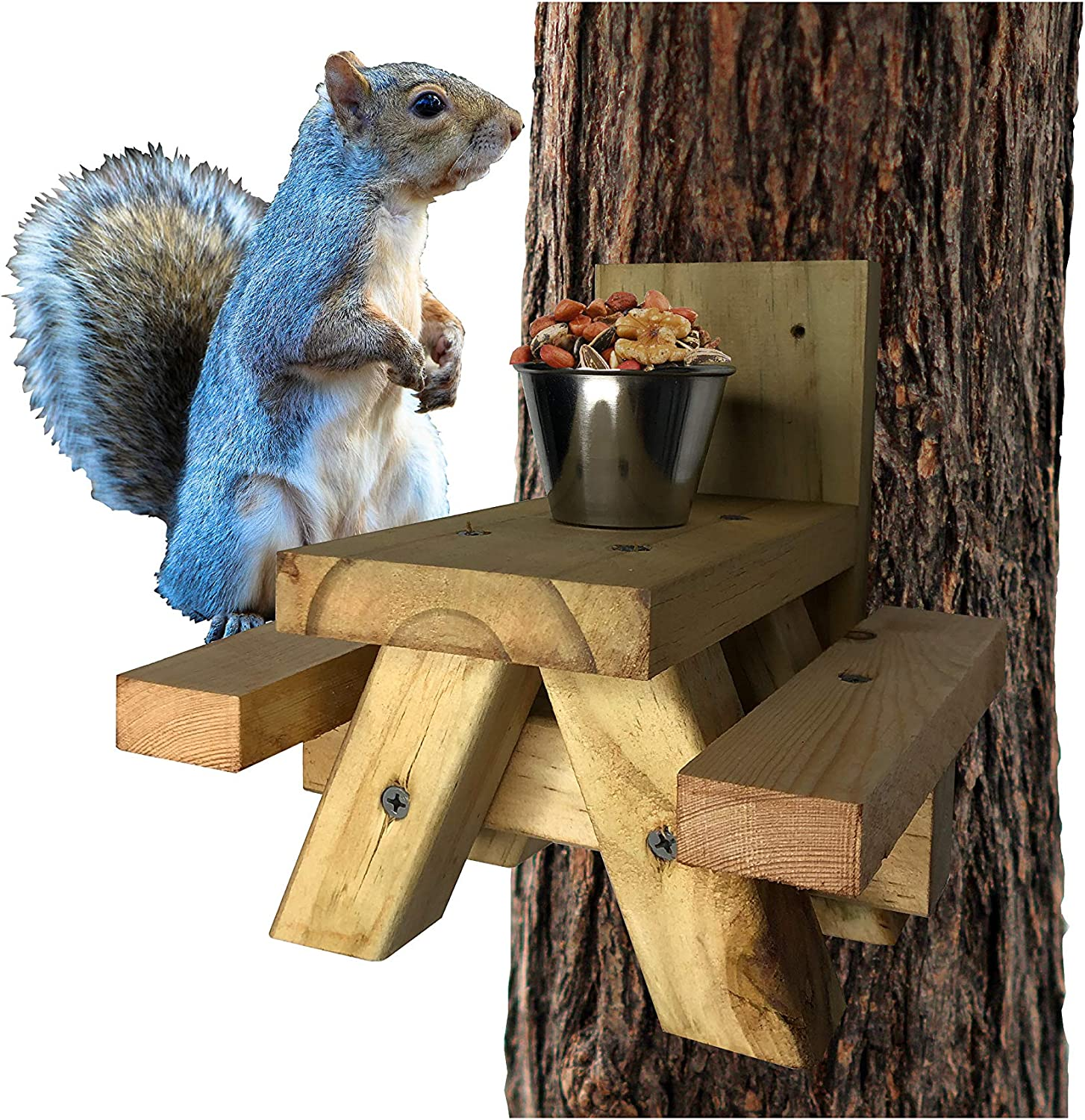 Squirrel Feeder Picnic Table - Squirrel Picnic Table with Cup Feed for Squirrel Food - Tree or Post Mount Squirrel Picnic Table Feeder - Loose Corn or Food or Peanuts