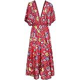 R.Vivimos Women's Print V-Neck Cotton Beach Long Dresses