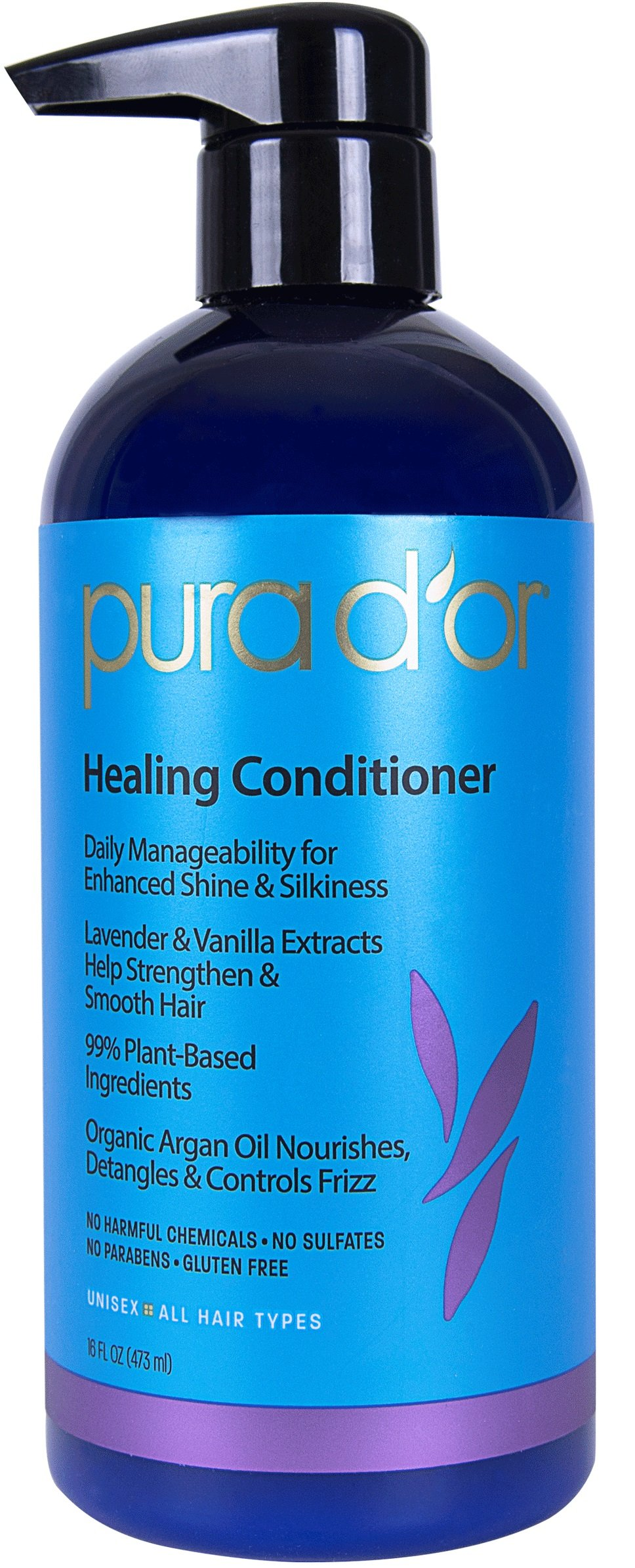 PURA D'OR Healing Conditioner Enhances Shine & Reduces Frizz, Sulfate Free Gentle Formula with Organic Argan Oil, Lavender and Vanilla, for All Hair Types, Men and Women, 16 Fl Oz (Packaging may vary)