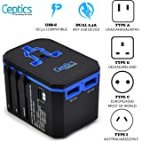 International Power Adapter, Ceptics World Travel USB-C QC 3.0 with PD Plug Adaptor Kit - 3 USB Ports Wall Charger Type I C G A Outlets 110V 220V A/C - 5V D/C - EU Euro US UK - All in One