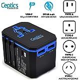 Ceptics Universal Travel Adapter Ceptics World Travel USB Type C Power Plug Adapter 3 USB Ports Wall Charger Type I C G A Outlets - 5V D/C - EU Euro US UK, UP-10KU