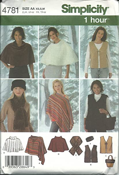 162106874 Amazon.com: Simplicity Sewing Pattern 4781 Misses Size 6-16 Ponchos ...