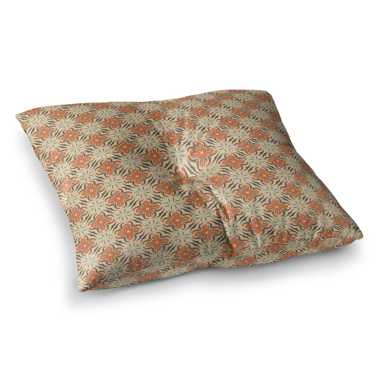 Kess InHouse Mayacoa Studio Tile Orange Geometric 23 x 23 Square Floor Pillow