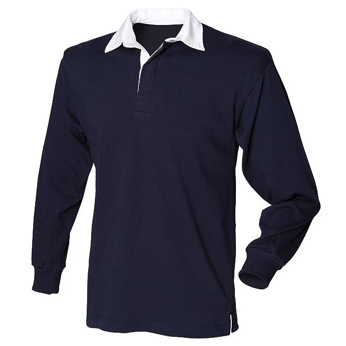 Polo de manga larga con el cuello en blanco para hombre/Caballero Modelo Rugby (