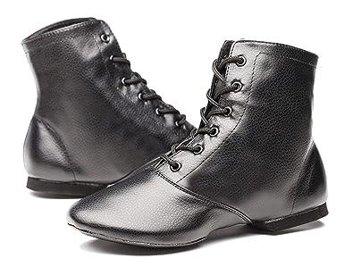 c3376c95c240d Joocare Women's Black Leather Split Sole Jazz Dance Boots Shoes(Adult/Unisex  for Big