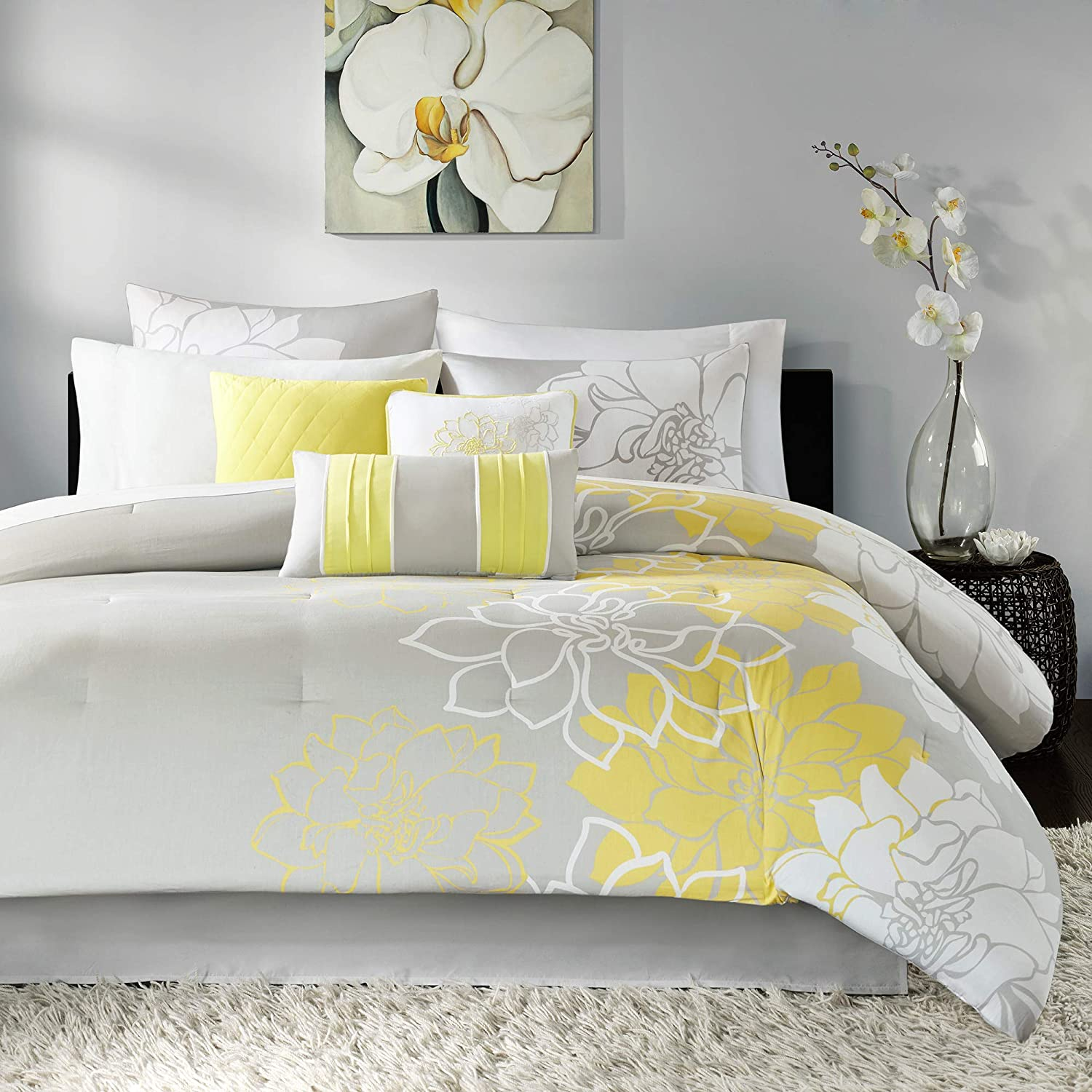 Madison Park Lola 6 Piece Twin Comforter Set Color, Twin/Twin XL, Yellow