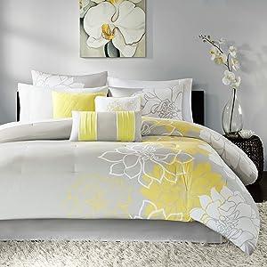 Madison Park Lola 7 Piece Comforter Set Size, Queen, Grey/Yellow