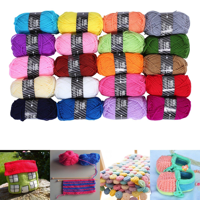Kurelle Pack de 20 Madejas Hilo de tejer/Acrílico lana - Perfecto para Crochet y Tejer - Hilado grueso para acolchar en una variedad de colores - 40 Metros ...