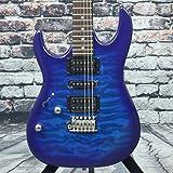 Ibanez GRX 6 String Solid-Body Electric Guitar, Left, Transparent Blue Burst, Full (GRX70QALTBB)