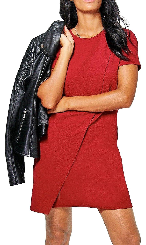 Re Tech UK Manga Corta para Mujer Envoltura PLÁSTICA Vestido Recto Cuello Redondo Medio Liso: Amazon.es: Ropa y accesorios