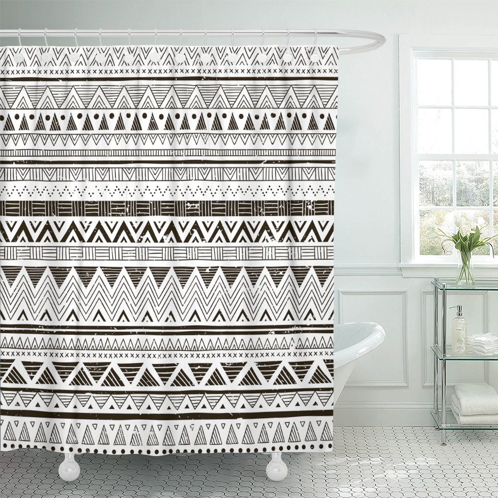 Amazon TOMPOP Shower Curtain Black And White Tribal Doodle Aztec Fancy Abstract Geometric Waterproof Polyester Fabric 72 X Inches Set With Hooks