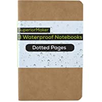 SuperiorMaker Small Kraft Dotted Waterproof Notebook (3 Pack) - Pocket Sized All Weather Notebook - 3.5x5.5 - Softcover - Tear Proof and Waterproof Paper - No Bleed Through - BONUS Label Stickers