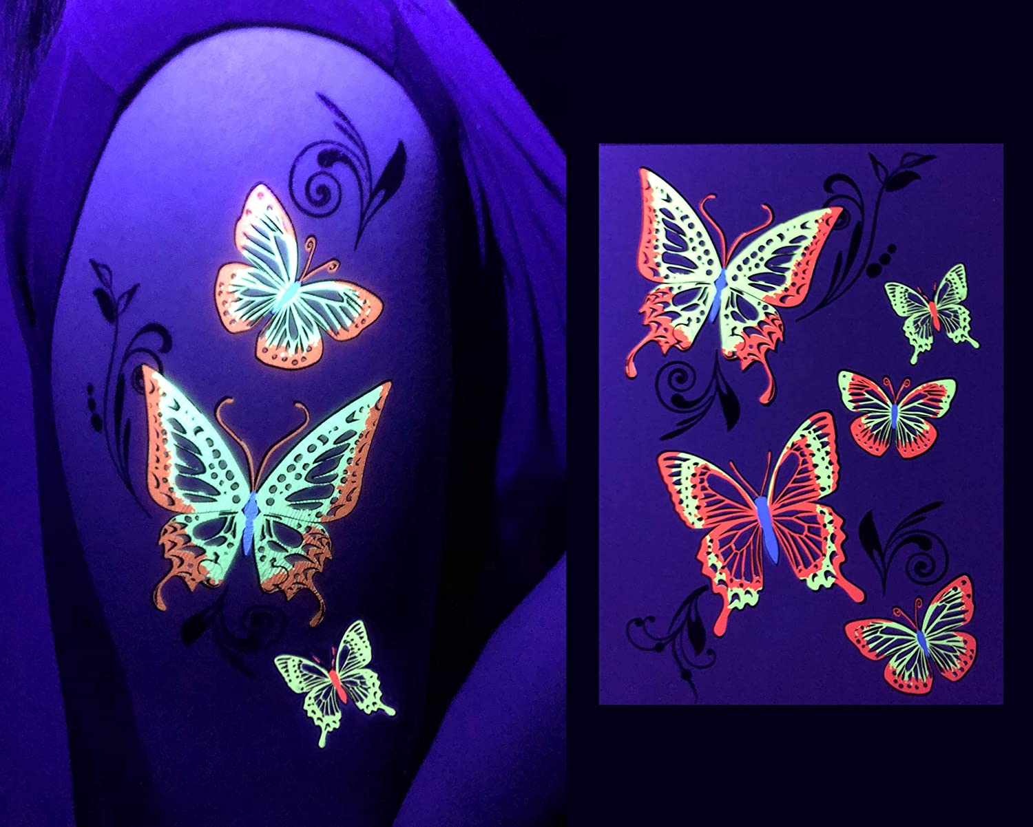 Butterflies//Skulls-Neon Accessories Flash Toy Game Tattoo Stickers Favor Makeup Dark Nightclub Electric Dance Music Festival Concert EDM d/'IRIS studio dIRIS studio LED Glow Party Supplies Tattoos Value Pack