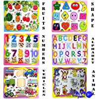 WISHKEY Wooden Educational Colorful Fruits, Numbers, Geometric Shapes, Animals,Vehicles, Alphabet - Set of 6 Puzzle Board