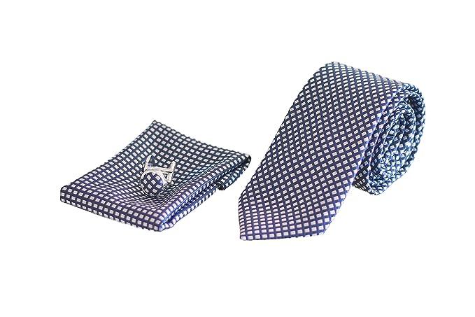 Corbata de hombre, Pañuelo de Bolsillo y Gemelos Azul a ...