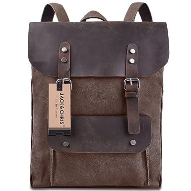Amazon.com | Jack&Chris Vintage Canvas Leather Laptop Backpack ...