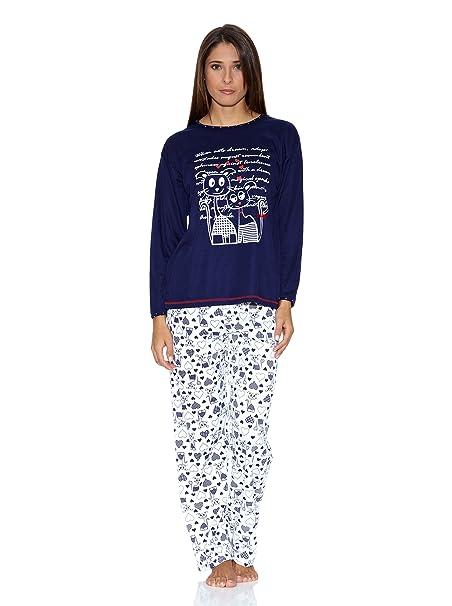 KUMY Pijama Gatitos Azul Marino M