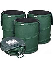 Bolsas de jardín emergentes de GloryTec 3 x 170 litros   Bolsas de residuos de jardín estables hechas del robusto poliéster Oxford 600D   Bolsas de jardín Premium estables y plegables