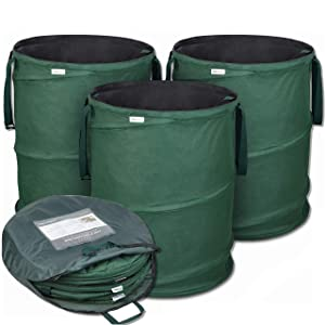 GloryTec 3-Pack Collapsible Garden Bag 45 Gallons Each - Heavy-Duty Gardening Container - Comparative-Winner 2018 - Reusable Trash Can for Leaf, Lawn and Yard Waste - Premium Bagster