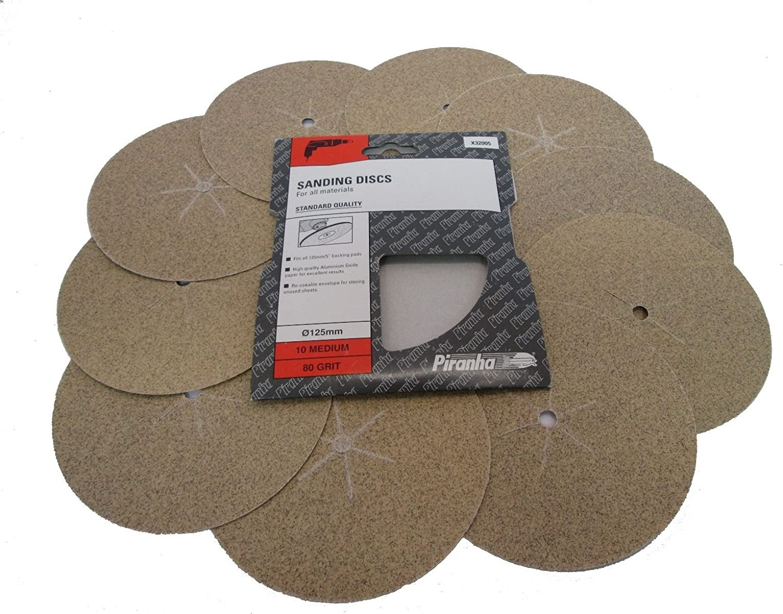 Piranha Sanding Discs 80 Grit 125mm Pack of 10 X32005
