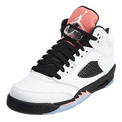 5f57a7a88125c9 Jordan Air 5 Retro GG Big Kids Shoes White Sunblush Black 440892-115
