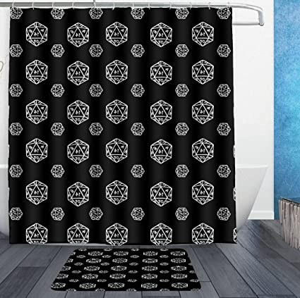 HOMESTORES D20 Dice Black Shower Curtain Liner With Hooks And Bath Rug Mat