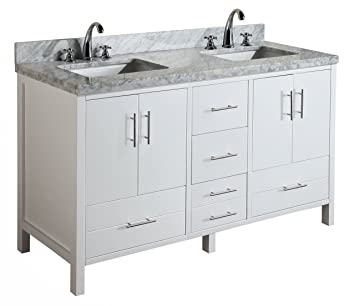 california 60inch double bathroom vanity includes modern white