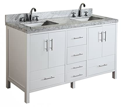 California 60 Inch Double Bathroom Vanity (Carrara/White): Includes Modern  White