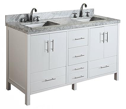 double bathroom vanity sink. California 60 Inch Double Bathroom Vanity  Carrara White Includes Modern
