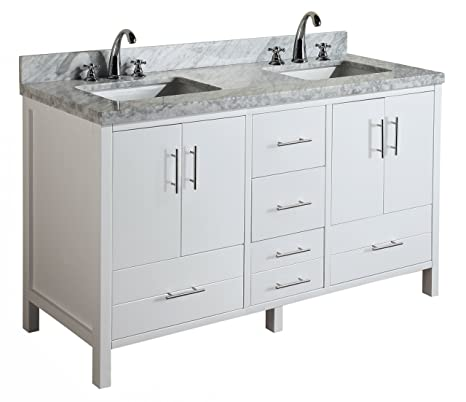 California 60 Inch Double Bathroom Vanity Carrara White Includes Modern White Cabinet With Soft Close Drawers Italian Carrara Marble Countertop