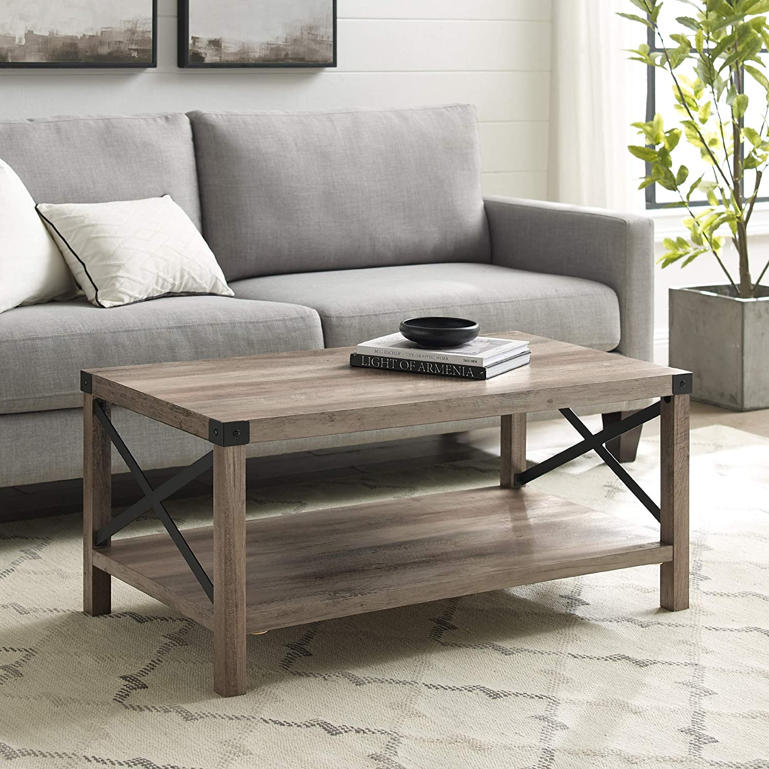 Amazon Com 40 Inch Metal X Frame Coffee Table With Grey Wash Finish Kitchen Dining