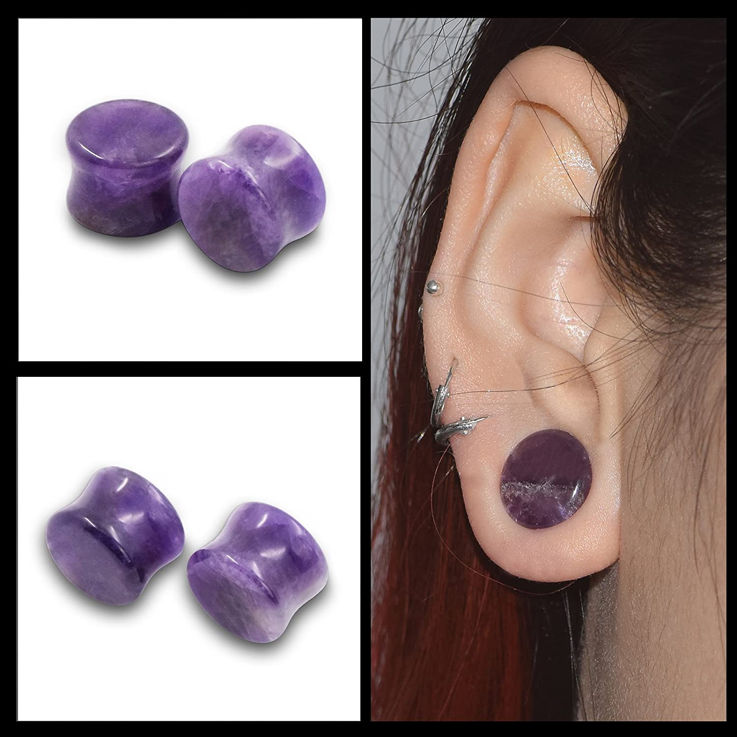 Qmcandy 18pcs or 8pcs 8g-5//8 in Organic Stone /& Stainless Steel Mixed Ear Tunnels Stretching Plugs Piercing