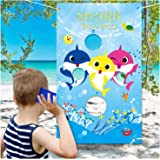 Shark Toss Games with 3 Been Bag Shark Baby Party Supplies Toss Games Party Games for Kids in Under The Sea Shark Theme Party Baby Shower Kids Birthday Party Classroom Game Summer Family Games