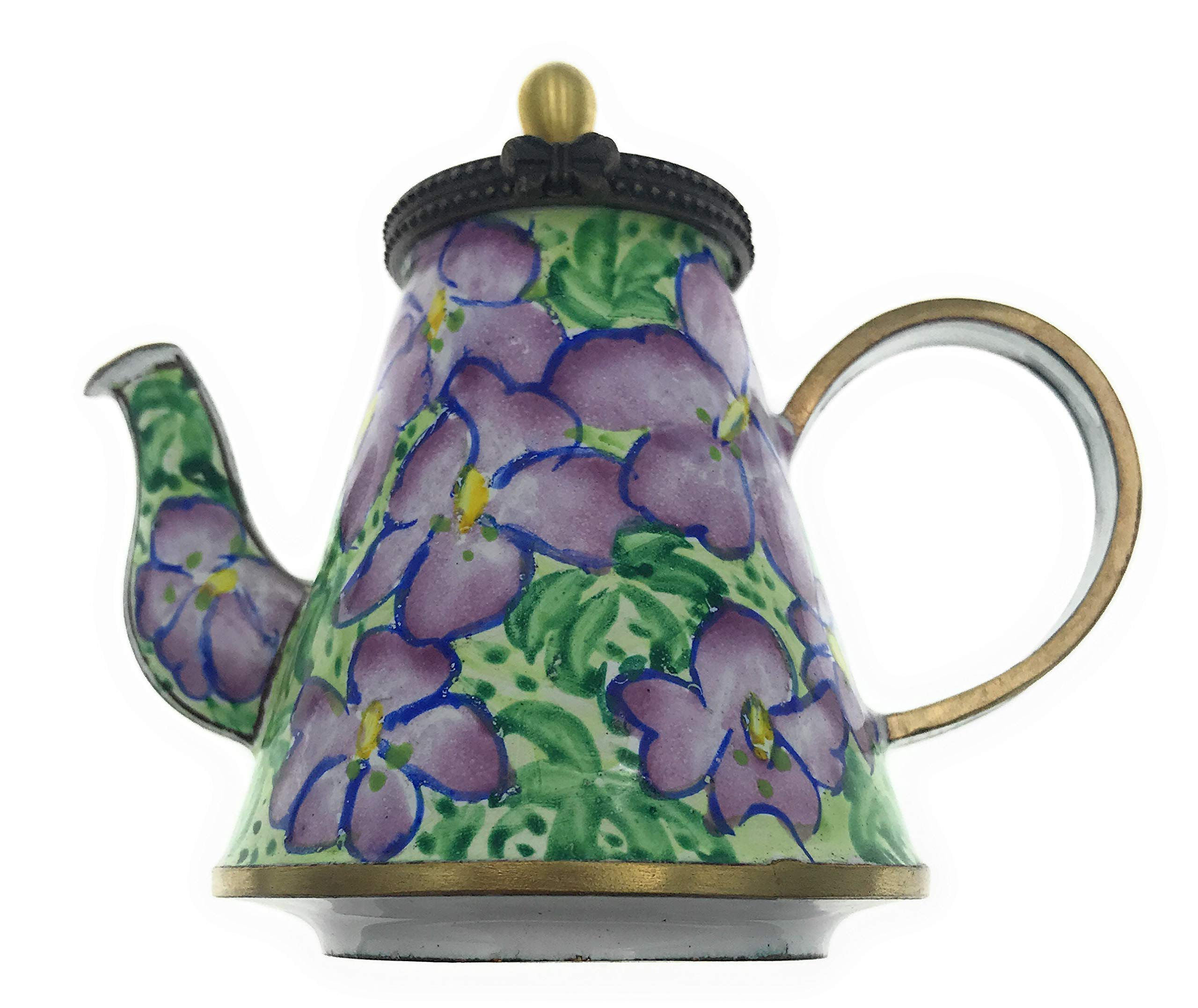 Kelvin Chen Bird Foot Violets Floral Hand Painted Decorative Enamel Teapot