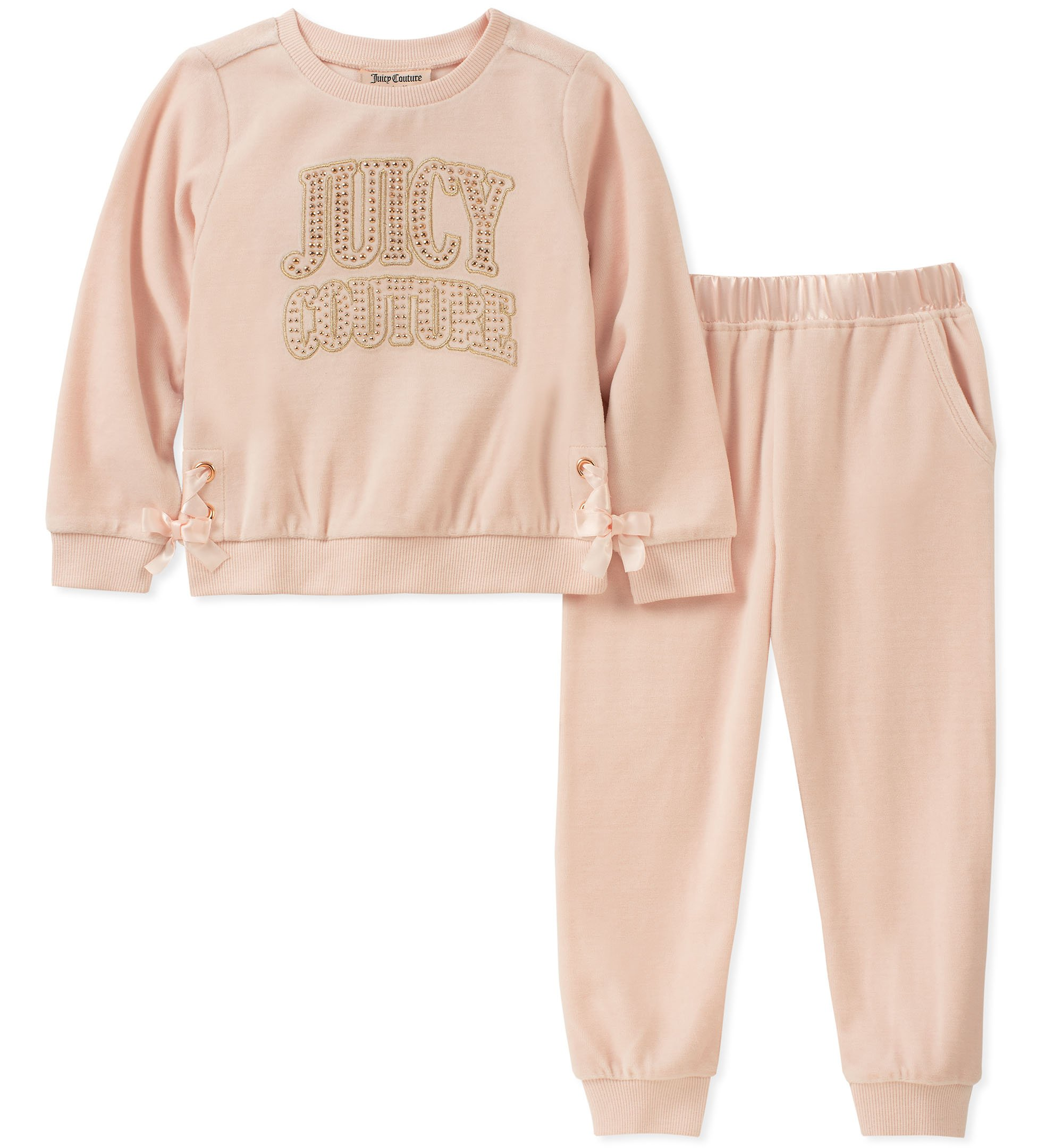 Juicy Couture Girls' Big 2 Pieces Pant Set - Velour, Rose, 7