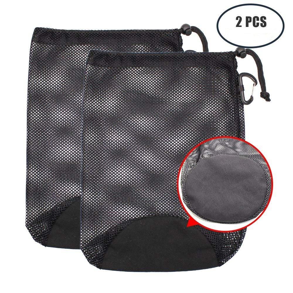 KisSealed 2Pcs Nylon Drawstring Mesh Sports Equipment Bag with Carabiner Clip for Swim,Climbing,Yoga,Gym