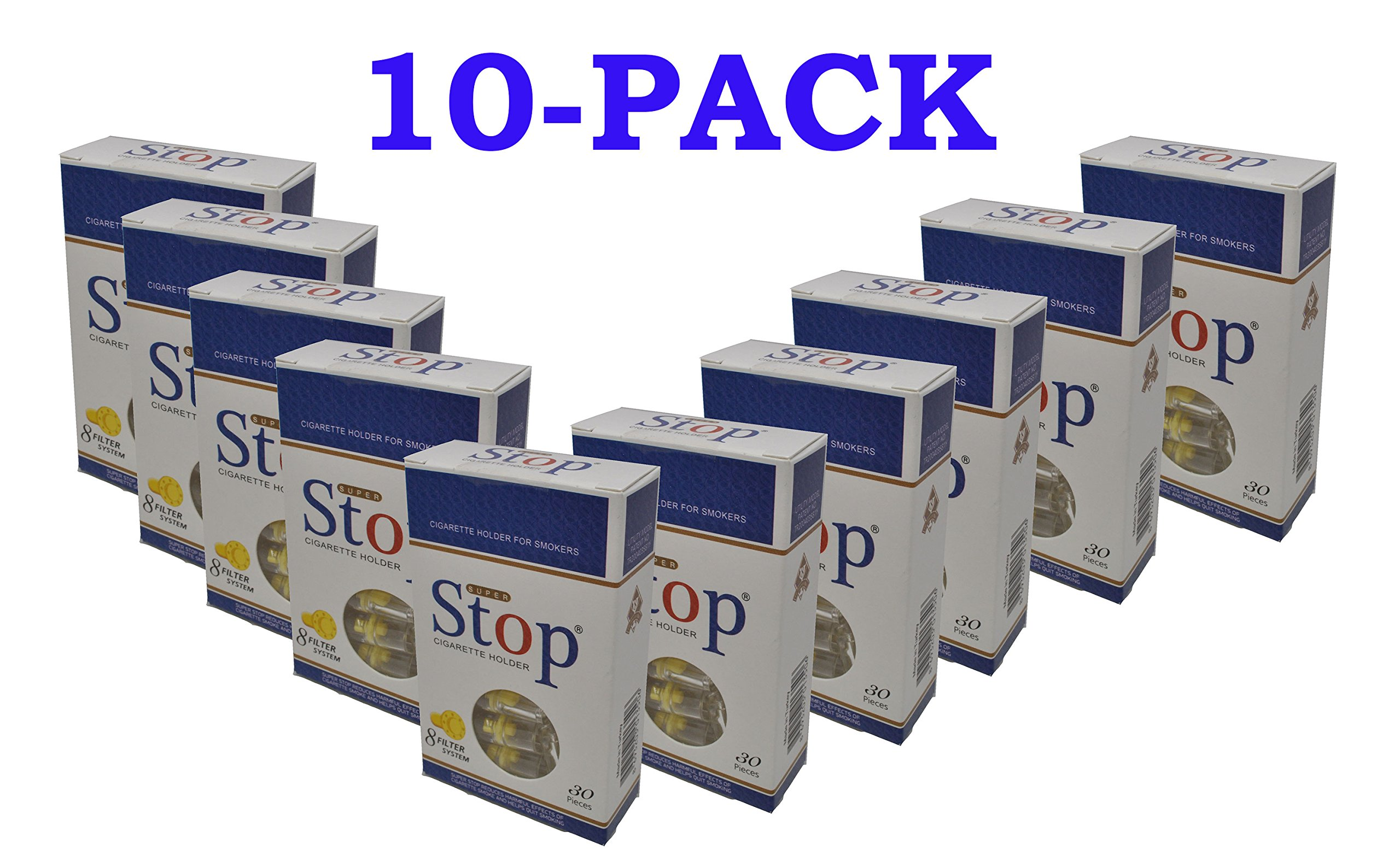 New and Improved Super Stop Disposable Cigarette Filters - 10 Packs (Blue)