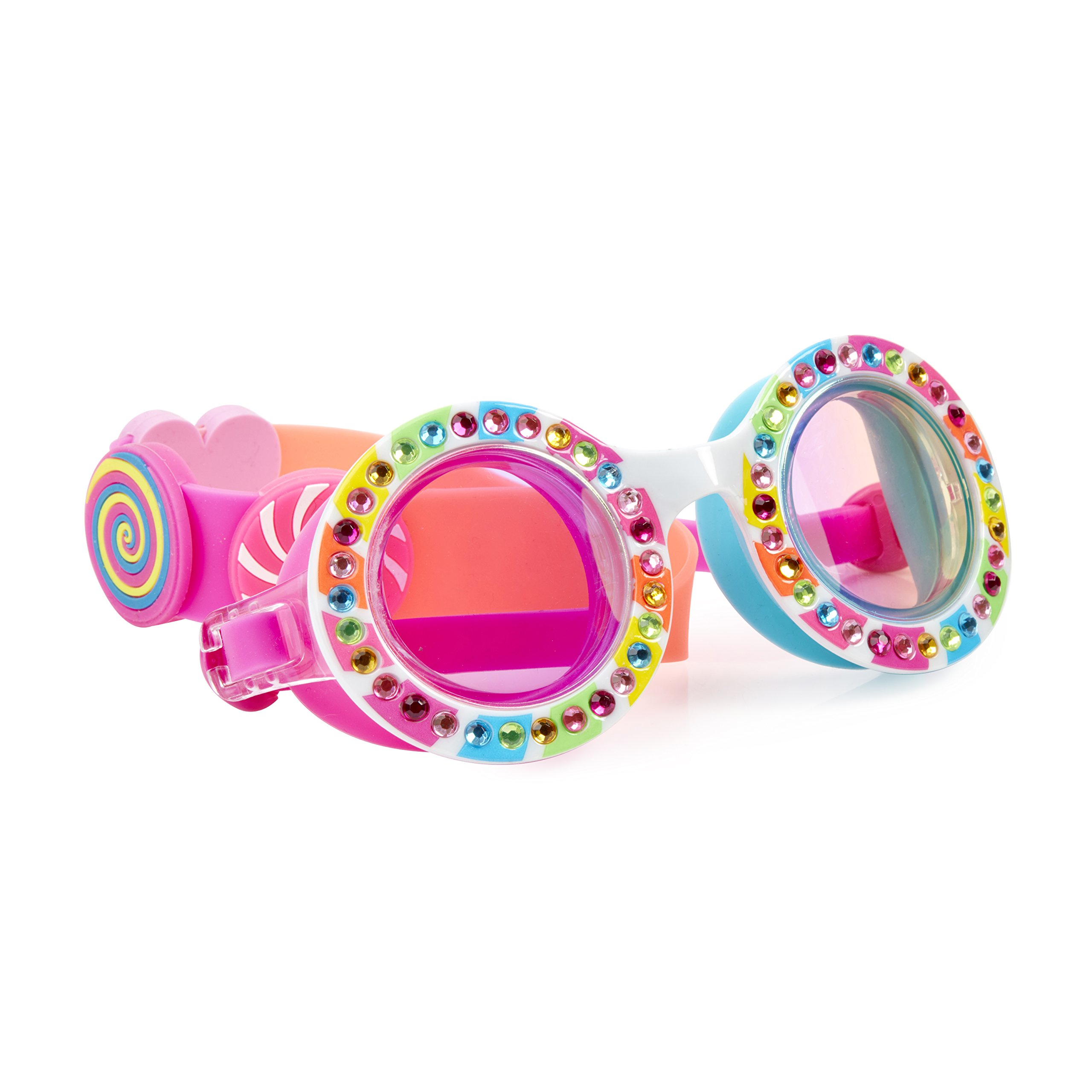 Lollipop Themed Swimming Goggles For Kids by Bling2O - Anti Fog, No Leak, Non Slip and UV Protection - Pop Sugar Round Colored Fun Water Accessory Includes Hard Case