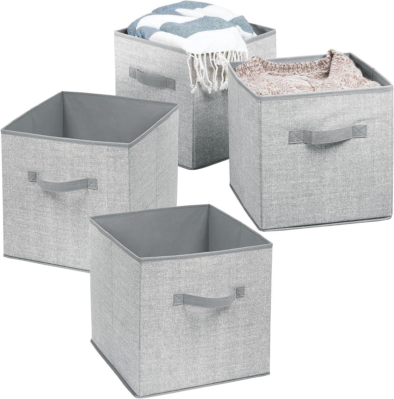mDesign Small Soft Fabric Closet Organizer Cube Bin Box - Front Handle - Storage for Closet, Bedroom, Furniture Shelving Units - Textured Print, 10.5