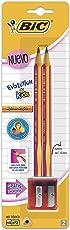 BIC 932047 Evolution Kids Lápiz, Blister de 2 Piezas con Sacapuntas, color Rosa