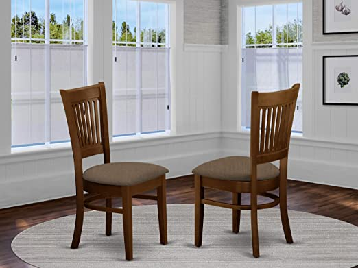 Amazon Com East West Furniture Vac Esp C Amazing Dining Chairs Linen Fabric Seat And Espresso Solid Wood Dining Chair Set Of 2 Furniture Decor
