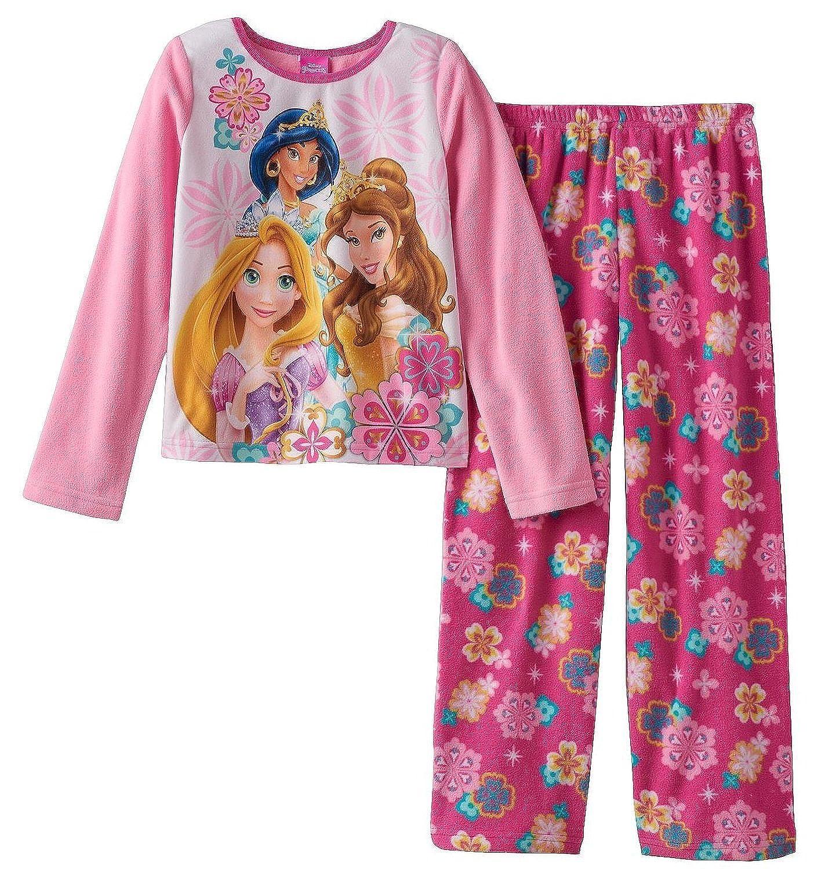 Disney Princess Big Girls Belle Aurora Rapunzel Cozy Fleece Pajama Set